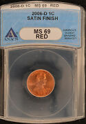2006-d Anacs Ms69rd Dcam Satin Lincoln Penny