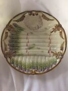 Majolica Asparagus Plate/ Embossed Aparagus And Shell Sauce Well Mj1