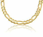 14k Solid Yg Menand039s Figaro Link Chain Necklace 11.0mm