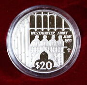 2002 Fiji 20 Platinum Proof Coin Westminster Abbey Commemorative W Case And Coa