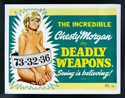 Deadly Weapons Cinemasterpieces Uk Vintage Adult Movie Poster Boobs Breasts