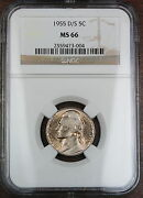 1955-d/s Jefferson Nickel Coin, Ngc Ms-66, Scarce Omm Variety