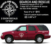 Sar Search And Rescue Deluxe Compass Rose Truck Decal Set