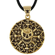 Bronze Skull And Bones Gold Coin Pirate Jewelry Caribbean Pendant Necklace