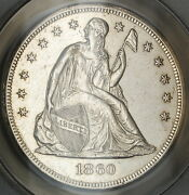 1860-o Seated Liberty Silver Dollar Anacs Ms-60 Details Cleaned Coin