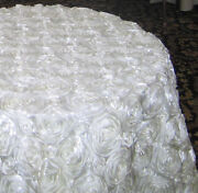 10 Pack 120 Round Rosette Satin 3d Tablecloth 3 Colors Ribbon Wedding 5ft Table