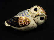 Beautiful Royal Crown Derby Traditional Imari Decorated Owl Figural Paperweight