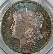 1904-o Morgan Silver Dollar, Pcgs Ms-65, Spectacularly Toned, Dgh