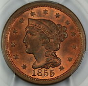 1855 Braided Hair Large Cent 1c, Pcgs Ms-64 Rb Upright 55 Mostly Red