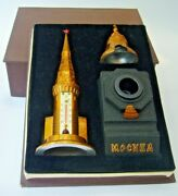 1970's Vintage Tin Tower Russia Moscow Kremlin Thermometer Tsar Bell Inkwell Pen