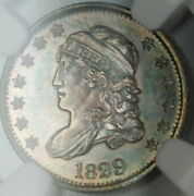 1829 Capped Bust Silver Half Dime Ngc Unc Details Toned Very Choice Bu Gf