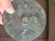 Genuine Chinese Bronze Mirror 4 Characters On The Knob 106mm Yuan Dynasty