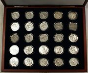 Collection Of 25 Silver Walking Liberty Half-dollars In Presentation Case W Coa