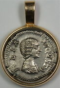Julia Domna Ancient Silver Coin, In 14k Gold Bezel Covered By Glass