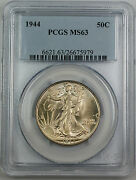 1944 Walking Liberty Silver Half Dollar, Pcgs Ms-63 Better Coin Lightly Toned