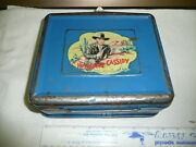 1950 Hopalong Cassidy Blue Metal Lunch Box. No Thermos -missing Handle