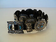 Fabulous 1950's Old Pawn Vintage Navajo Silver And Turquoise Concho Belt