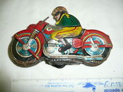 Tin Friction Motorcycle Toy Japan Vintage--missing Arms --still Works