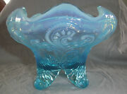 Antique Eapg Dugan Blue Opalescent Inverted Fan And Feather Whimsey Rose Bowl