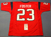 Arian Foster Autographed Houston Texans Red Jersey Jsa Don't Mess W Texas Insc