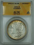 1901 Morgan Silver Dollar Coin Anacs Au-58 Details Cleaned Light Toning B