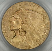 1929 2.50 Indian Gold Coin Pcgs Genuine Bu