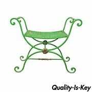 Vintage Neoclassical Style Green Painted Wrought Iron Brass Curule X Bench Stool
