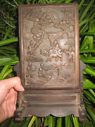 Chinese Antique Table Screen Wooden Board Carving Qing Dynasty