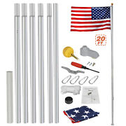 Heavy Duty Aluminum 20and039 Sectional Flag Pole Kit W/ 3and039 X 5and039 Us Flag Gold Ball Kit