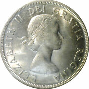 1955 Canada Silver 1 One Dollar Coin -graded Mint Ms-65 By Iccs