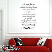 In Our Home We Thank God ... We Are Family Vinyl Wall Decal Religious Quote L027