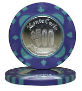 50pcs Monte Carlo Coin Inlay Poker Chips 500