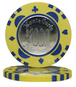 100pcs Monte Carlo Coin Inlay Poker Chips 1000