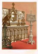 Waringand039s Cast Iron Alter And Lectern -chromolith From Masterpieces Of Art- 1863
