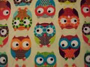 Owls Hoot Multi Colored Owl Cotton Flannel Fabric Bthy