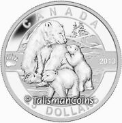 2013 Polar Bear And Baby Cubs O Canada Series 25 Silver Proof In Box Full Ogp