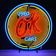Neon Sign Gm Chevy Ok Used Cars Steel Can Dealer Chevrolet Wall Lamp Chevy 36