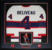 Jean Beliveau Montreal Canadiens Signed Jersey Nhl Hockey Collector Frame