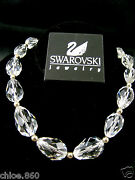 Signed Cut Faceted Clear Crystal Rhodium Necklace Nwt Retired Rare