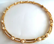 St John  Gold Plated And Pearl Choker Necklace  Estate Jewelry Nice