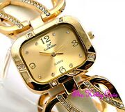 Gold Plated Designer Wide Wavy Bars Dress Cage Watch W/ Crystal Bling