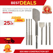 Sds Max Construction Set Drill Bits Chisels And A Clay Spade Brand New