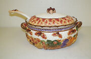 Fitz And Floyd 1995 Harvest Fall Tureen With Lid And Ladle Acorns Large
