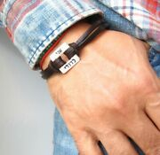 Kabbalah Leather Silver Bangle Bracelet Luck I Am Beloved Blessed Amulet Jewelry