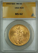1922 20 St. Gaudens Double Eagle Gold Coin Anacs Ms-62 Better