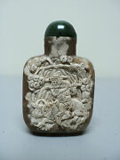 Fabulous Hand Carved 19th C. Chinese Agate/stone Snuff Bottle Man With Oxen