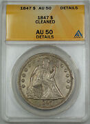 1847 Seated Liberty Silver Dollar 1 Anacs Au-50 Details Cleaned
