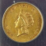 1854 Type 2 1 One Dollar Gold Coin Anacs Au-55 Details Damaged Cleaned