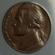 1980-p Jefferson Nickel 5c Coin Struck On Penny Cent 1c Blank Anacs Au-55