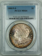 1880/9-s Morgan Silver Dollar 1 Pcgs Ms-64 Nicely Toned Js